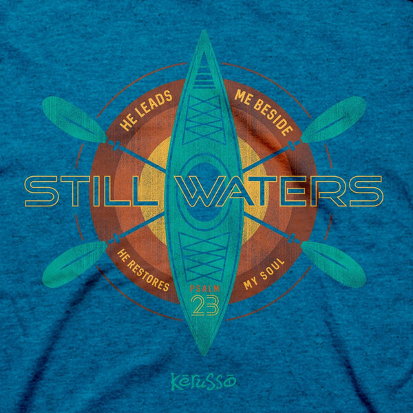 Still Waters in Sapphire - Psalm 23:2-3 - Men's Christian T-shirt