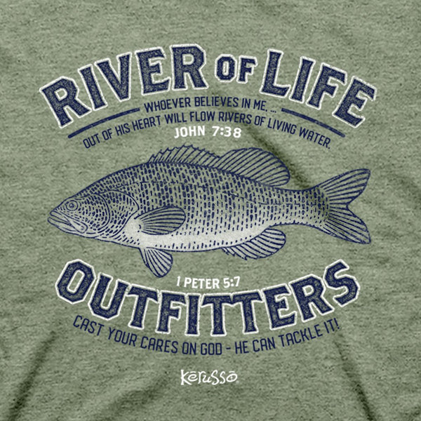 River of Life Outfitters - John 7:38, 1 Peter 5:7 - Women's Christian T-shirt