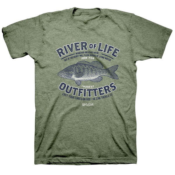 River of Life Outfitters - John 7:38 and 1 Peter 5:7 - Men's Christian T-shirt