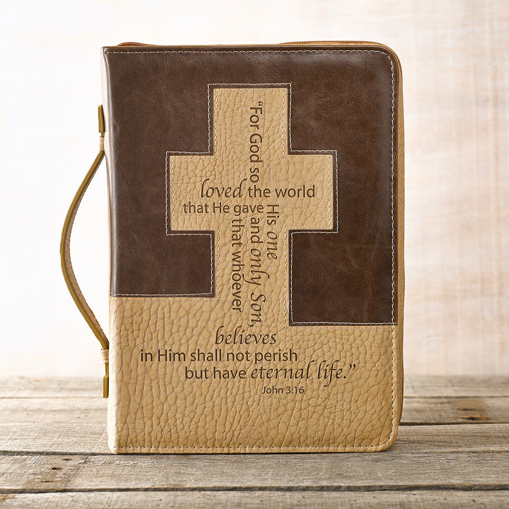 John 3:16 Bible Cover In Brown And Tan