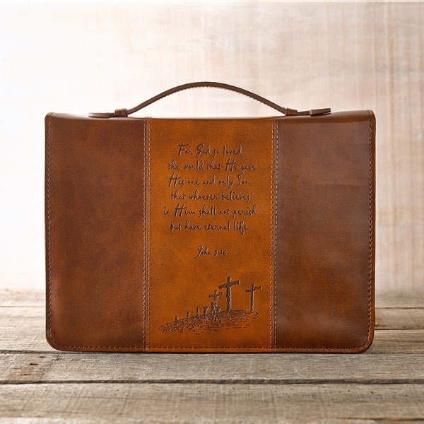 For God So Loved the World - John 3:16 - Two-Tone Brown Luxleather Bible Cover