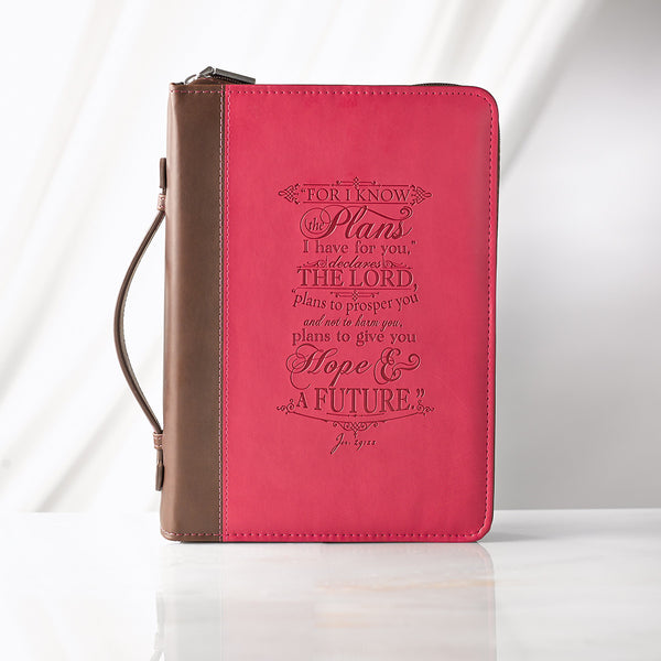 I Know the Plans - Jeremiah 29:11 - Pink and Brown LuxLeather Bible Cover