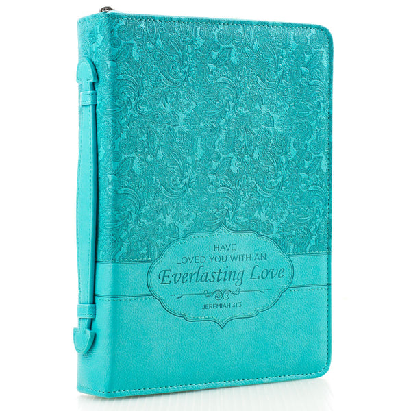Everlasting Love -  Jeremiah 31:3 - Turquoise LuxLeather Bible Cover