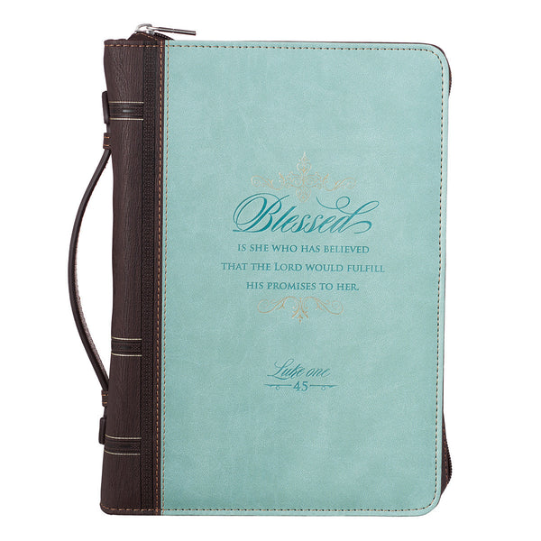 Blessed Is She - Luke 1:45 - Blue and Brown Luxleather Bible Cover