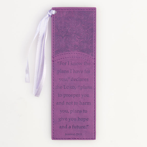 For I Know The Plans - Jeremiah 29:11 - Faux Leather Bookmark