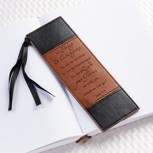 Strong & Courageous - Joshua 1:9 - Two-Tone Faux Leather Bookmark