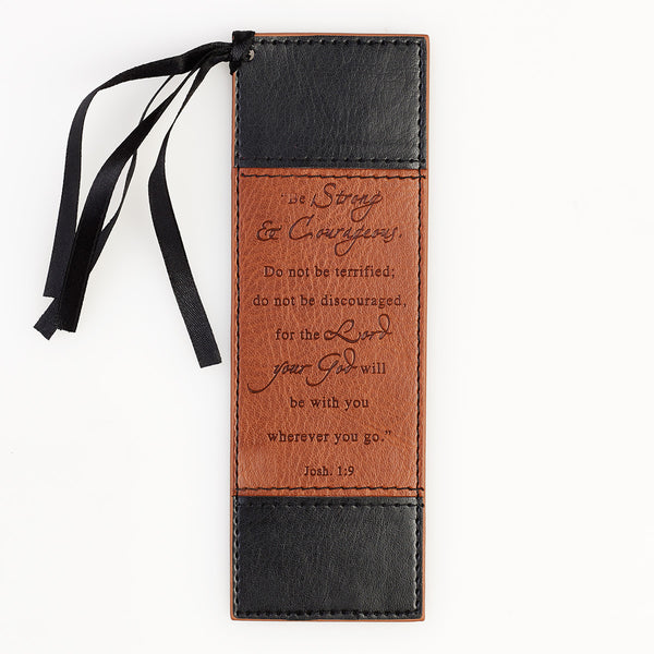 Strong and Courageous - Joshua 1:9 - Two-Tone Faux Leather Bookmark