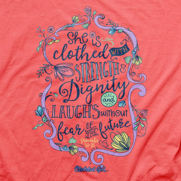 Strength and Dignity - Proverbs 31:25 - Women's Christian T-shirt
