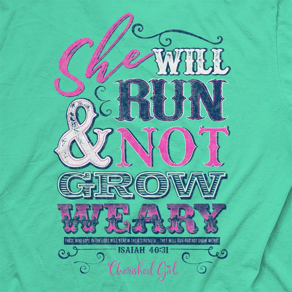 Run and Not Grow Weary - Isaiah 40:31 - Women's Christian T-shirt