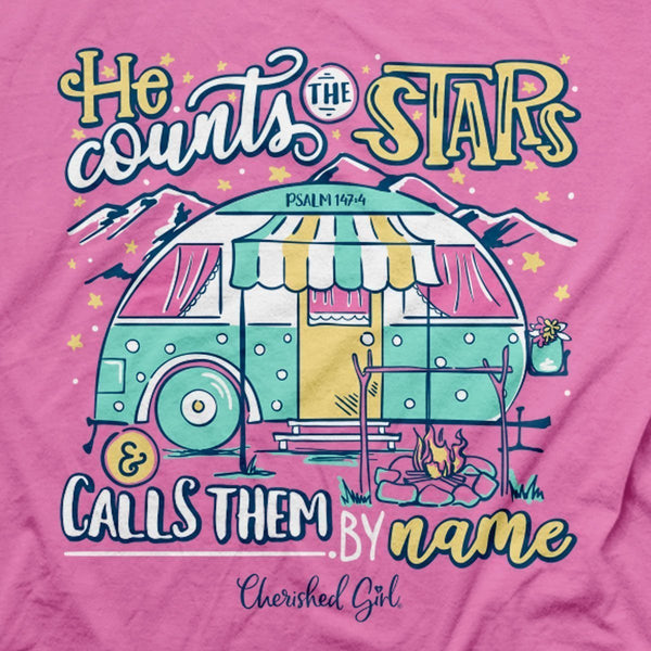 He Counts the Stars - Psalm 147:4 - Women's Christian T-shirt