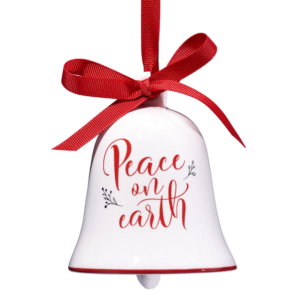 Peace on Earth Christmas Bell Ornament