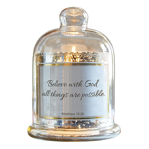 All Things Are Possible - Matthew 19:26 - Glass Cloche Dome Candleholder