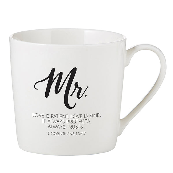 Love Is - 1 Corinthians 13:4,7-8 - Mr. and Mrs. Cafe Mug Set
