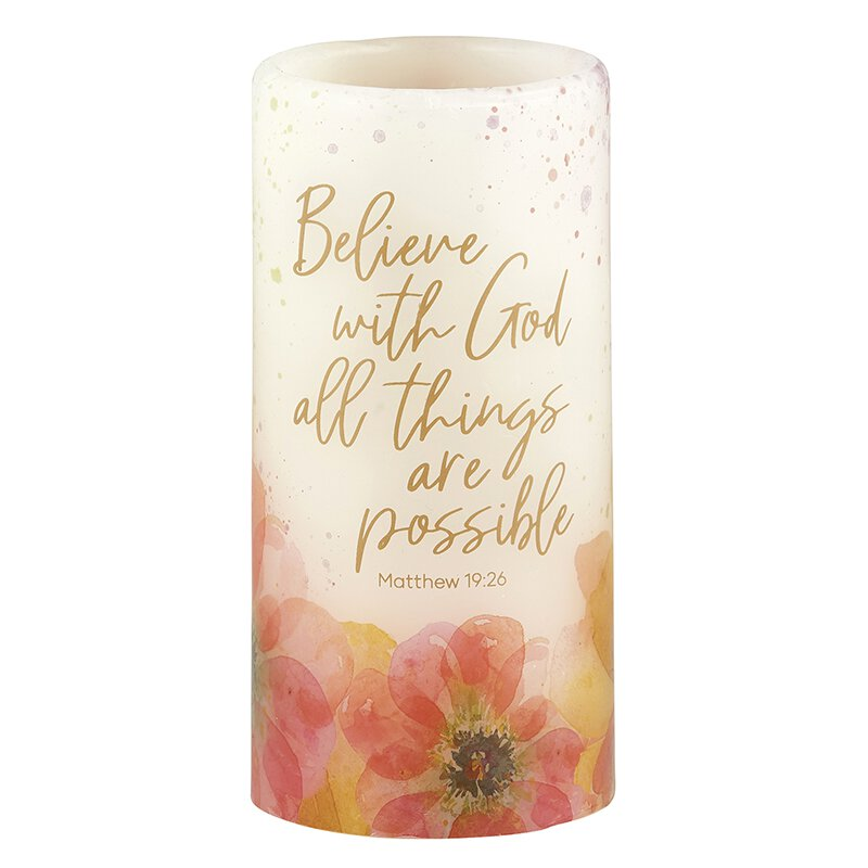 All Things Are Possible - Matthew 19:26 - LED Candle