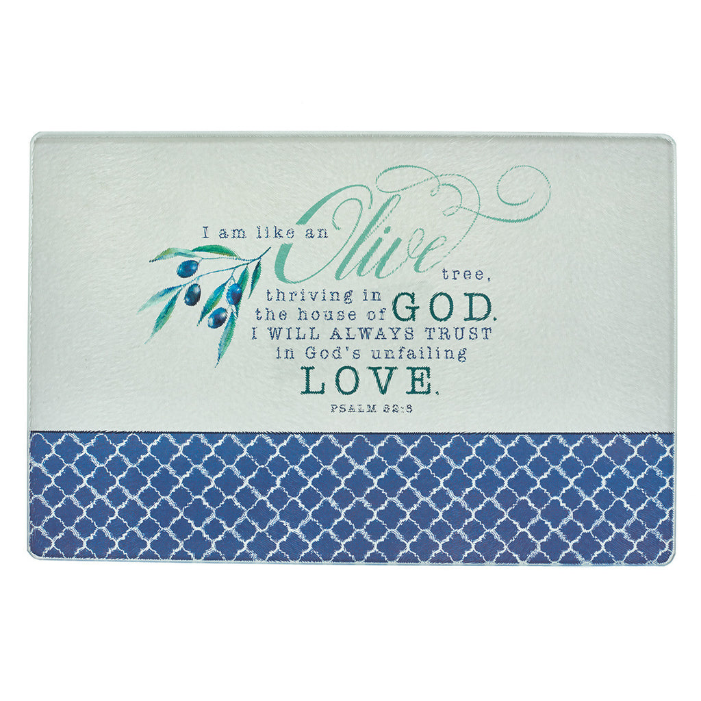 Olive Branch - Psalm 52:8 - Medium Glass Cutting Board