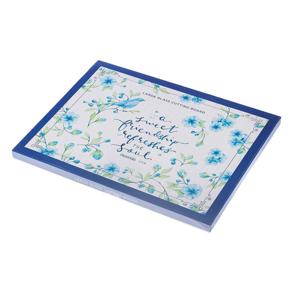 Sweet Friendship - Proverbs 27:9 - Glass Cutting Board