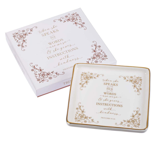 When She Speaks - Proverbs 31:26 - Trinket Tray