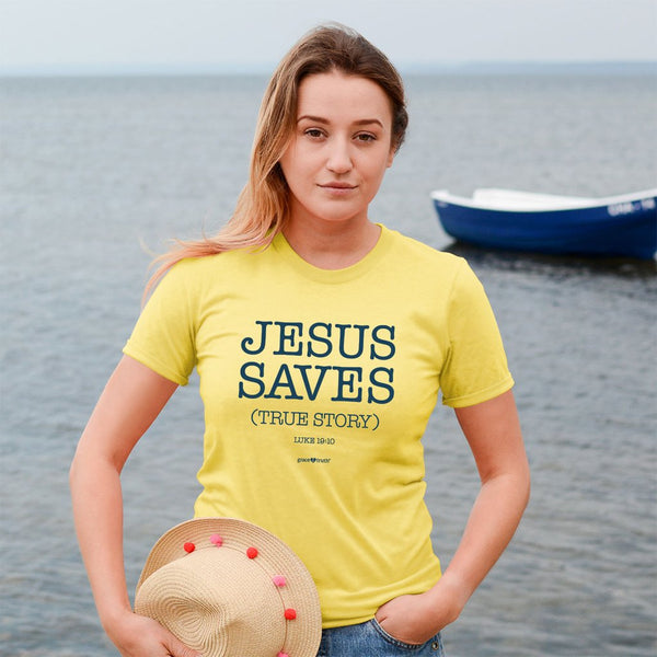 Jesus Saves - Luke 19:10 - Women's Christian T-shirt