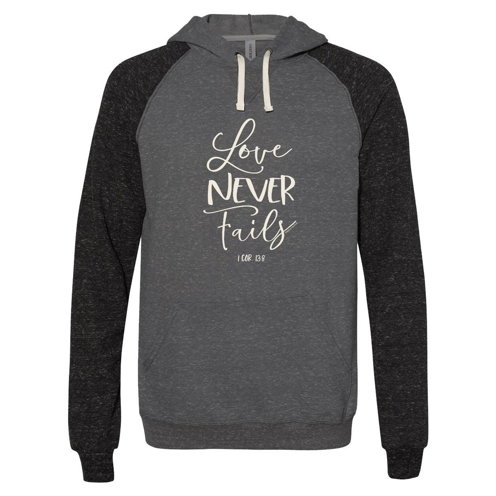 Love Never Fails - 1 Corinthians 13:8 - Women's Christian French Terry Hoodie