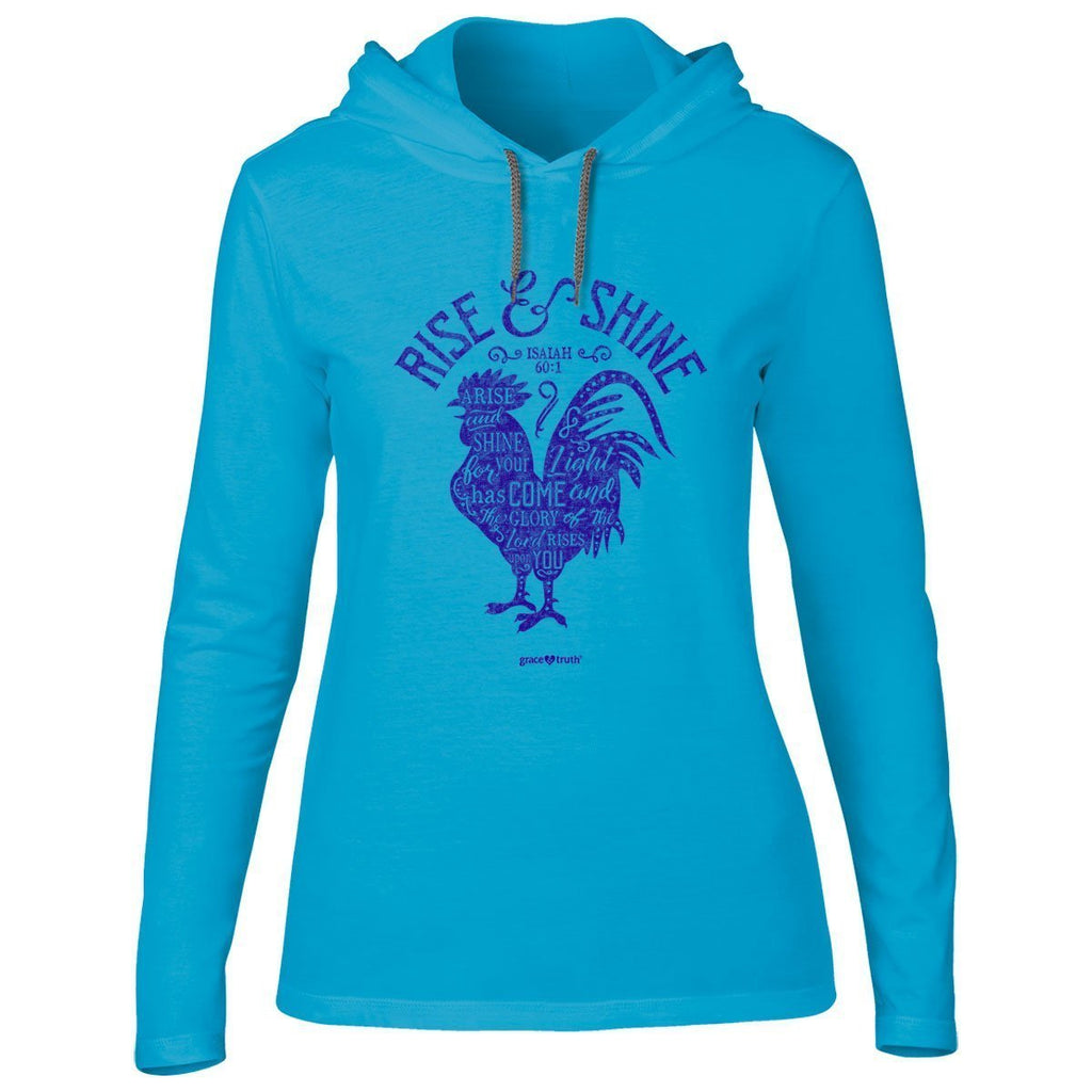 Rise and Shine - Isaiah 60:1 - Hooded Women's Christian T-shirt