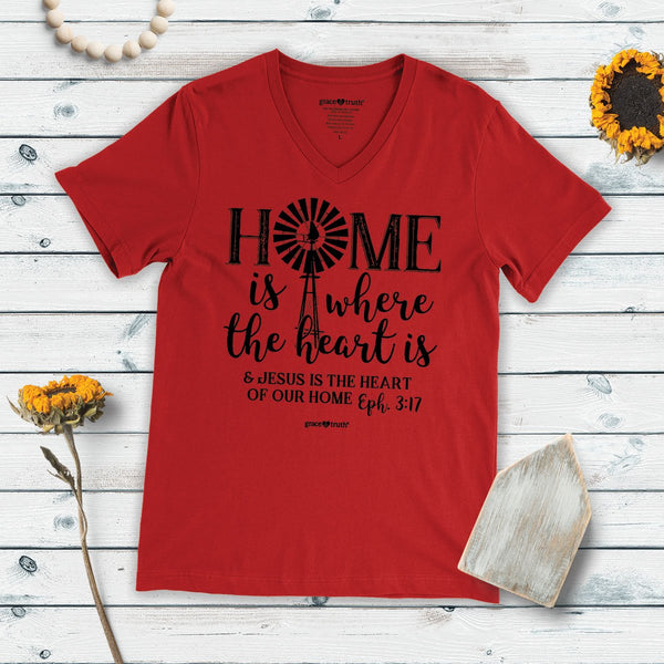 Home Is Where the Heart Is - Ephesians 3:17 - Women's Christian T-shirt