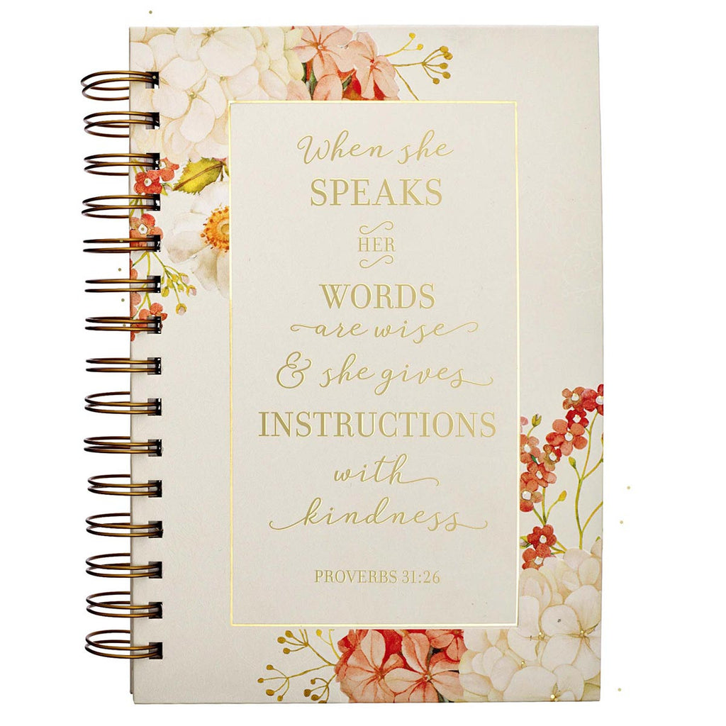 When She Speaks - Proverbs 31:26 - Large Wirebound Journal