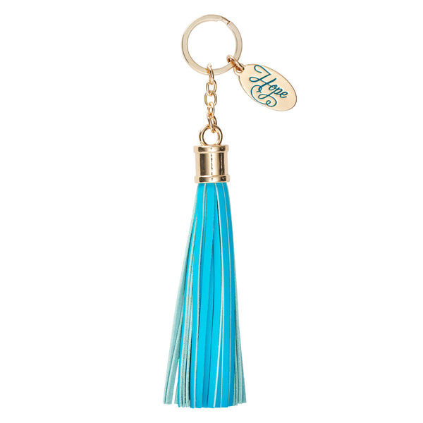 Leather Tassel Hope Keyring in Turquoise