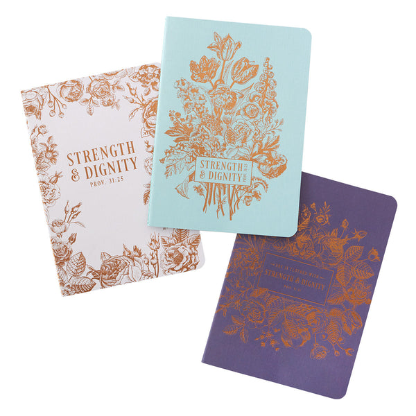 Strength and Dignity - Proverbs 31:25 - Notebook Set (Set of 3)