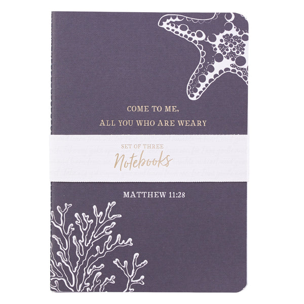 Give You Rest - Matthew 11:28 - Medium Notebook Set (Set of 3)