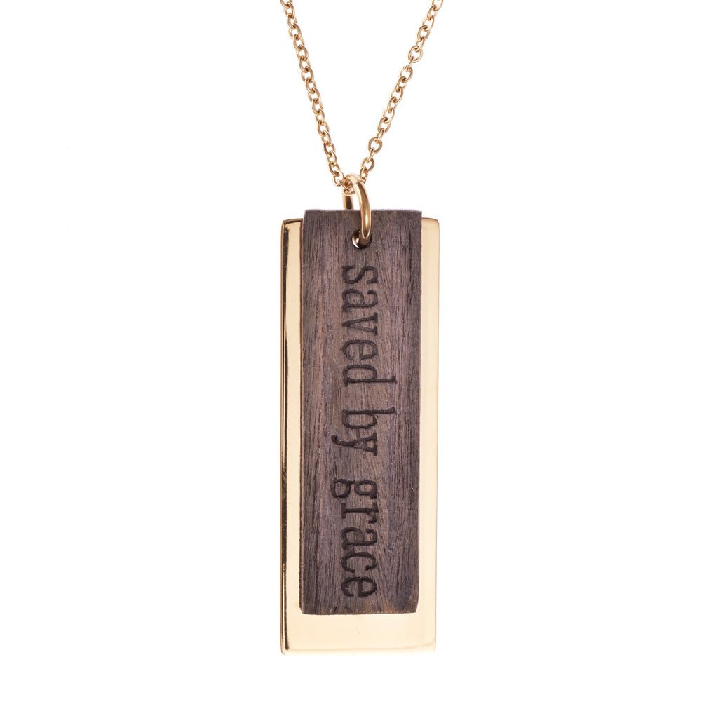 Saved by Grace - Ephesians 2:8 - Metal and Wood Necklace