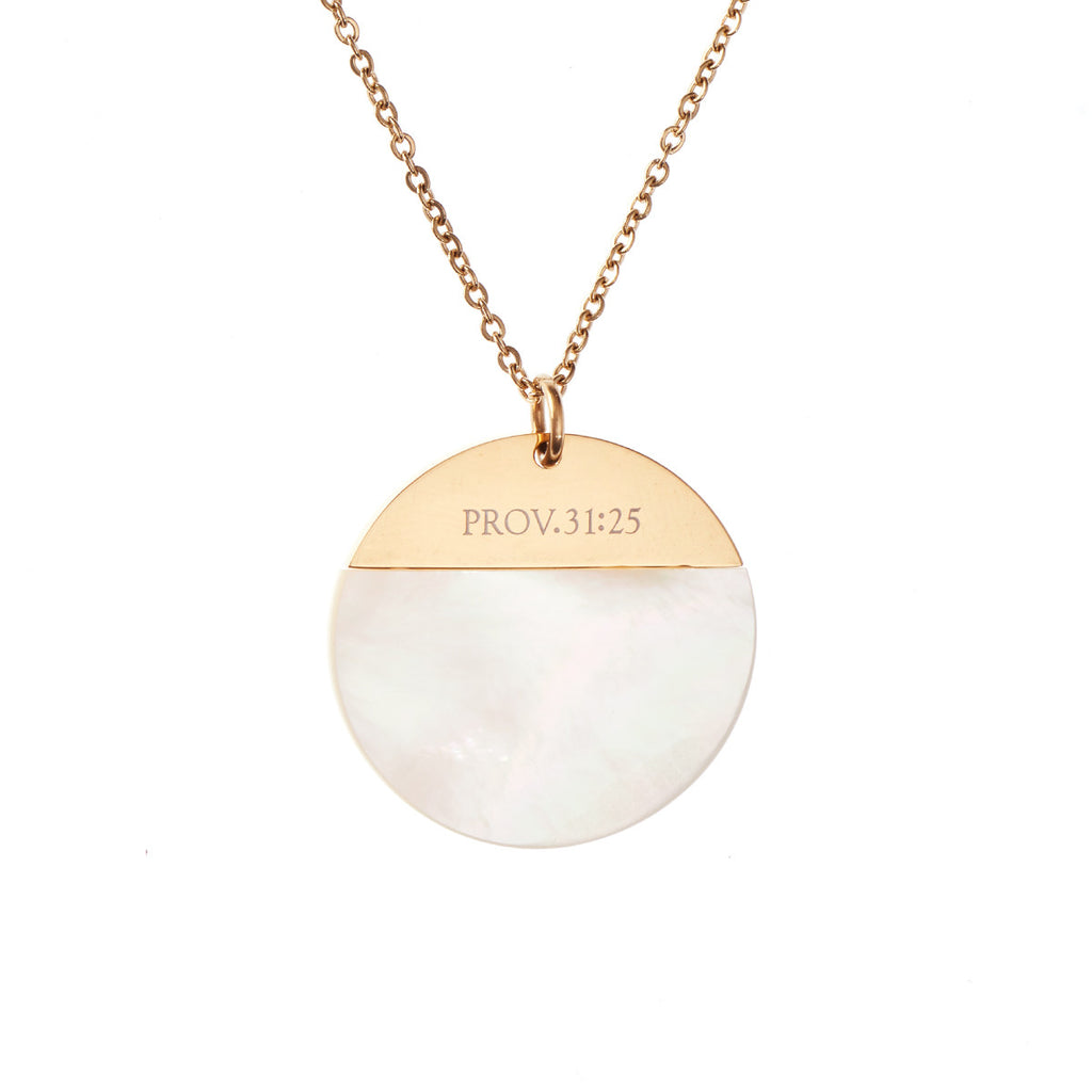 Proverbs 31:25 - Mother of Pearl Shell Necklace