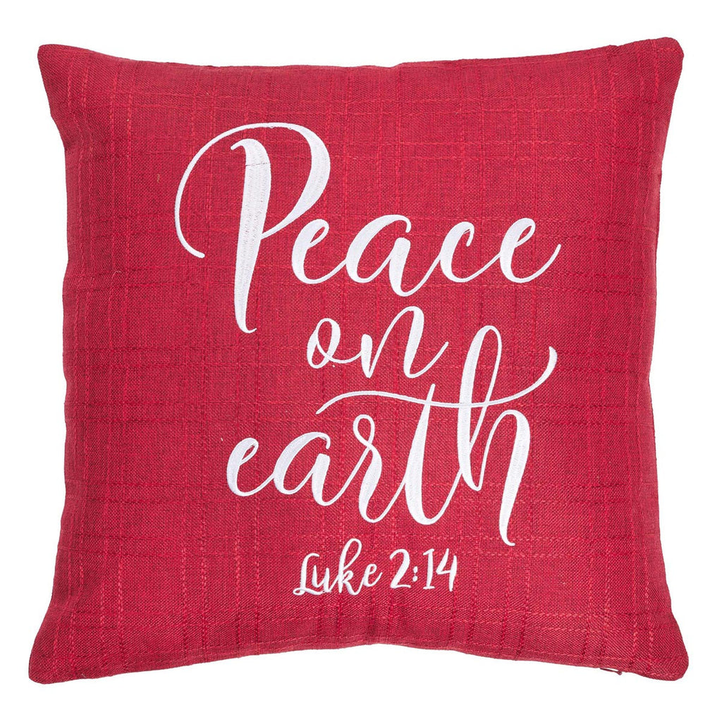 Peace on Earth - Luke 2:14 - Embroidered Pillow
