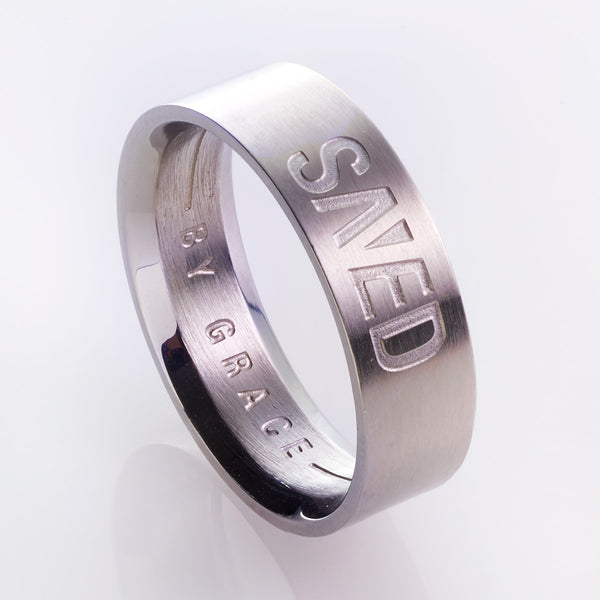 Saved by Grace - Ephesians 2:8 - Men's Christian Ring