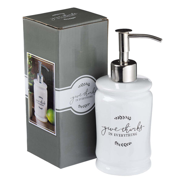 Give Thanks in Everything - 1 Thessalonians 5:18 - Ceramic Soap Dispenser