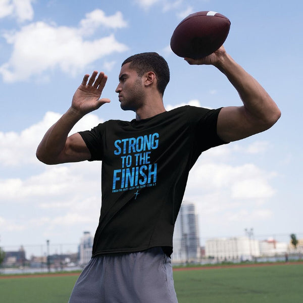 Strong to the Finish -2 Timothy 4:7 - Men's Christian Active T-shirt