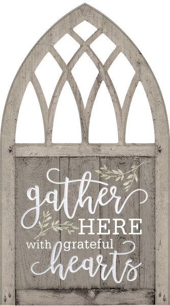 Gather Here with Grateful Hearts Decorative Window
