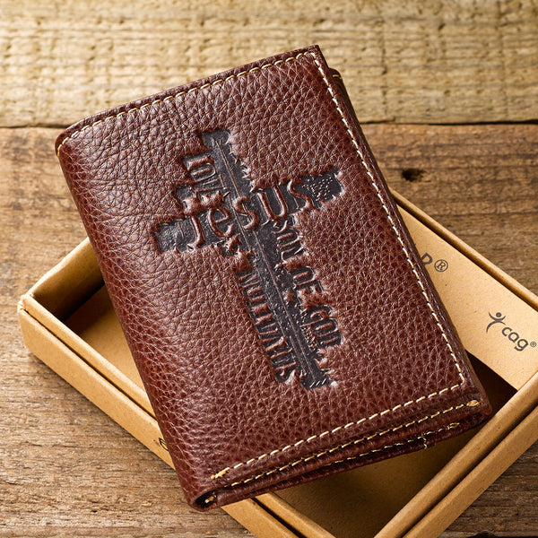 Names of Jesus Brown Genuine Leather Tri-fold Wallet with Cross