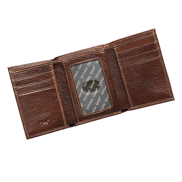 Brown Genuine Leather Tri-fold Wallet with Cross