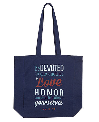 Be Devoted To One Another - Romans 12:10 - Canvas Tote Bag