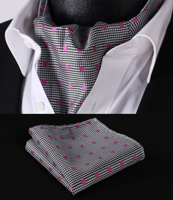 Pink Spot On Black & White Check Background Cravat