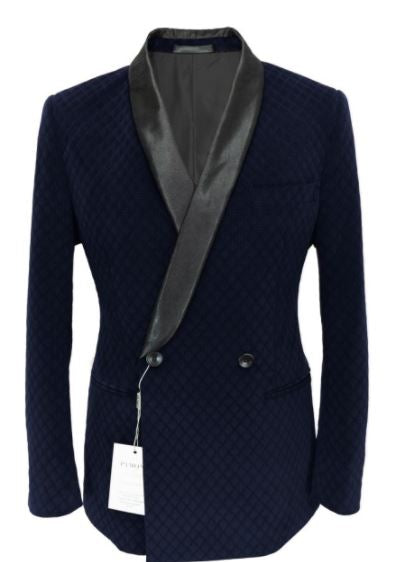 Double Breasted Flocked Navy Velvet Blazer