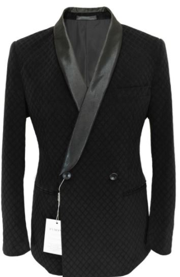 Double Breasted Flocked Black Velvet Blazer