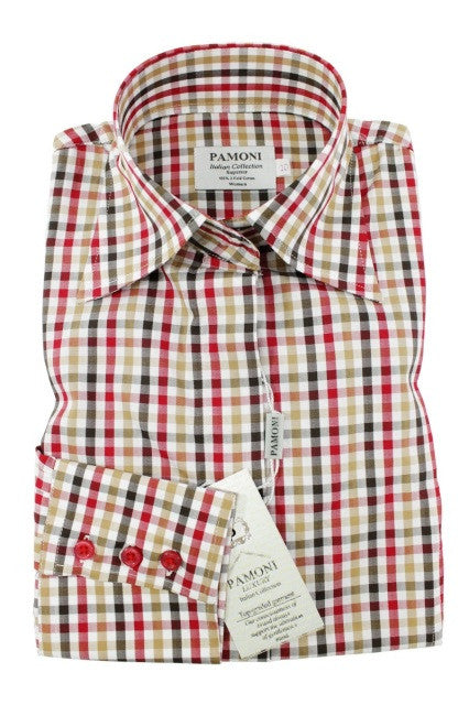 Red Brown & Black Check Shirt