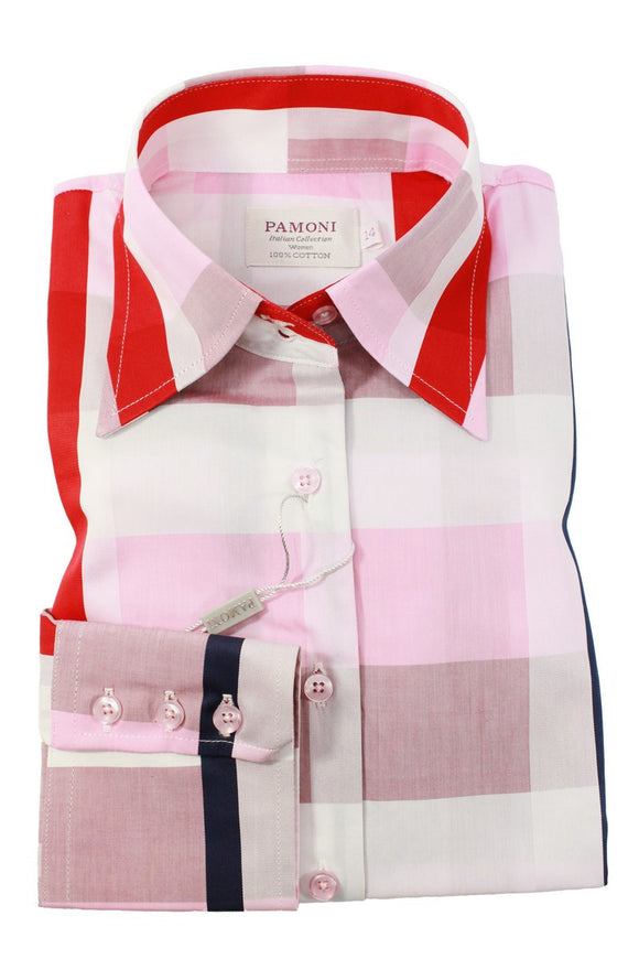 Red Pink & White Square Fitted Shirt