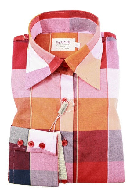 Red Multi Colour Square Fitted Shirt