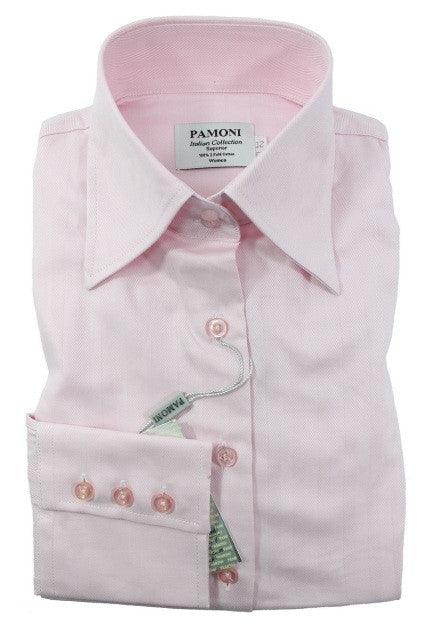 Pink Herringbone Fitted Shirt