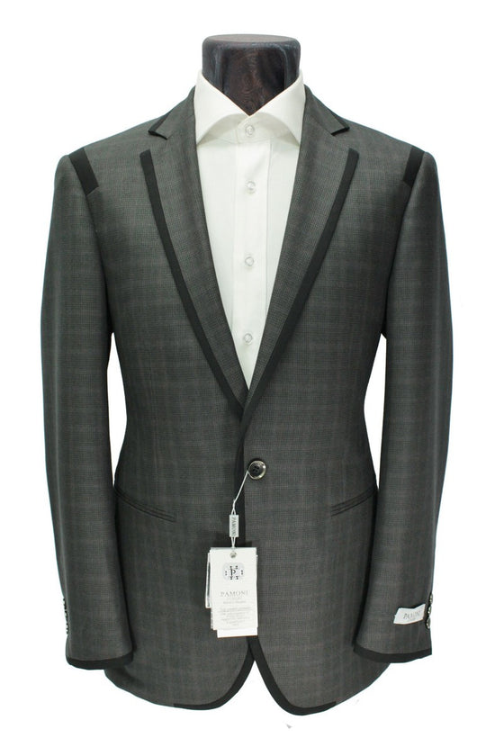 Charcoal Check Contrast Edging Blazer