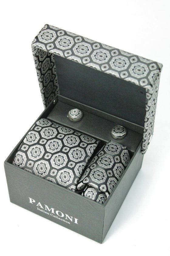 Black & Silver Pattern Tie & Cufflinks Set