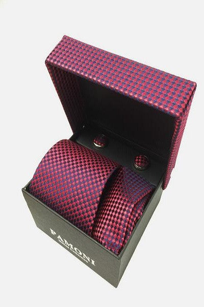 Red Diamond Tie & Cufflinks Set