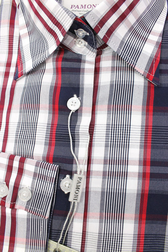 Navy Red Check Fitted Shirt